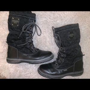 Black logo leather snow boots 7 coach Shaine